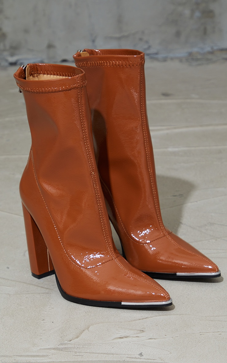 Toffee Vinyl Pointed Toe Cap Heeled Sock Boots 3