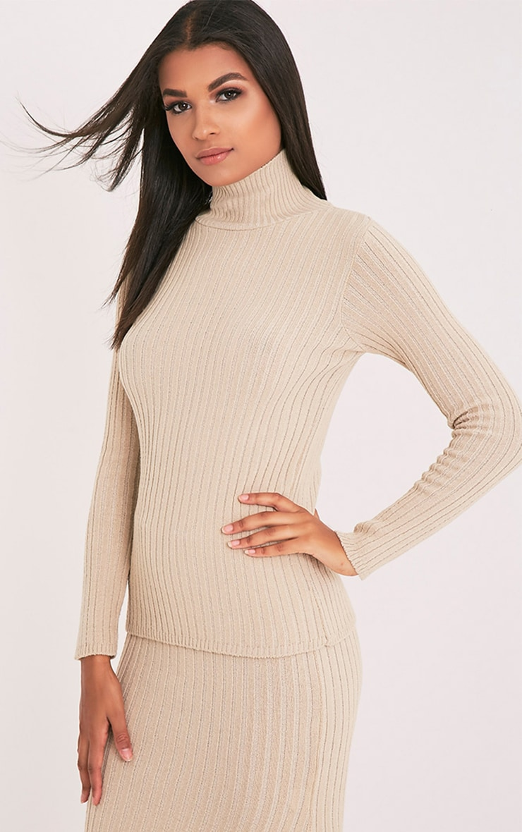 Ulanie Stone Turtle Neck Ribbed Knitted Jumper 4