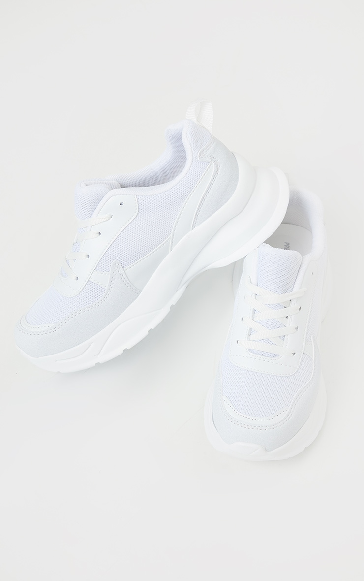 White Chunky Sole Mesh Trainer 2