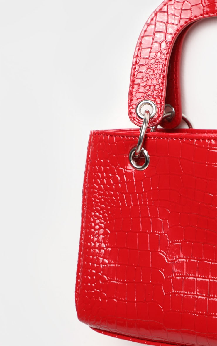 Red Patent Croc Ring Detail Mini Handbag 3