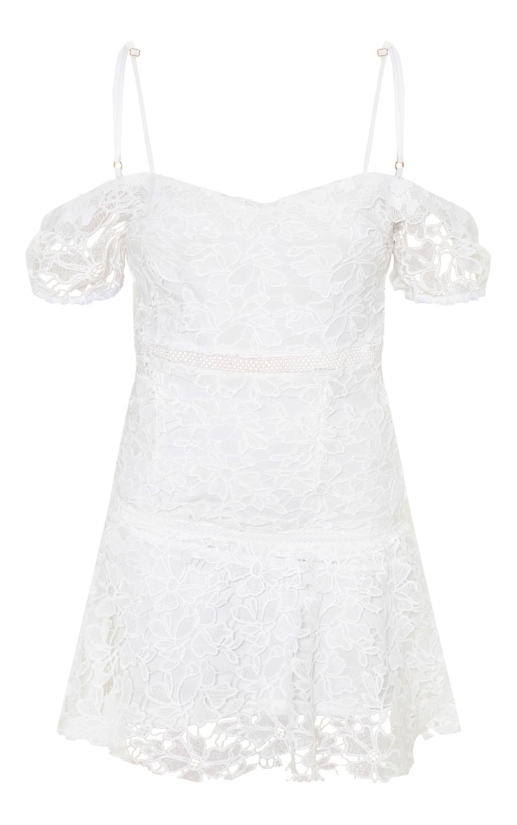 White Lace Cold Shoulder Flute Hem Bodycon Dress 3