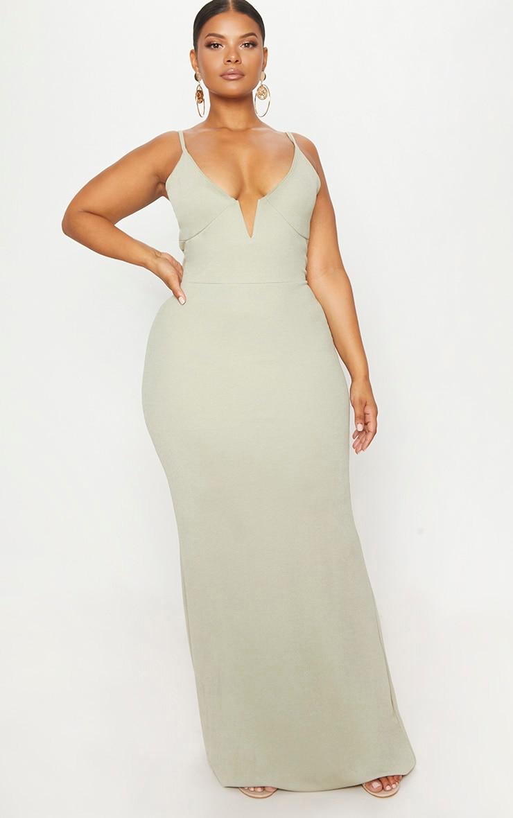 Black Sage Green V Bar Backless Maxi Dress 1