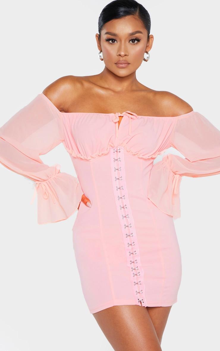 Pink Chiffon Sleeve Hook & Eye Bodycon Dress 1