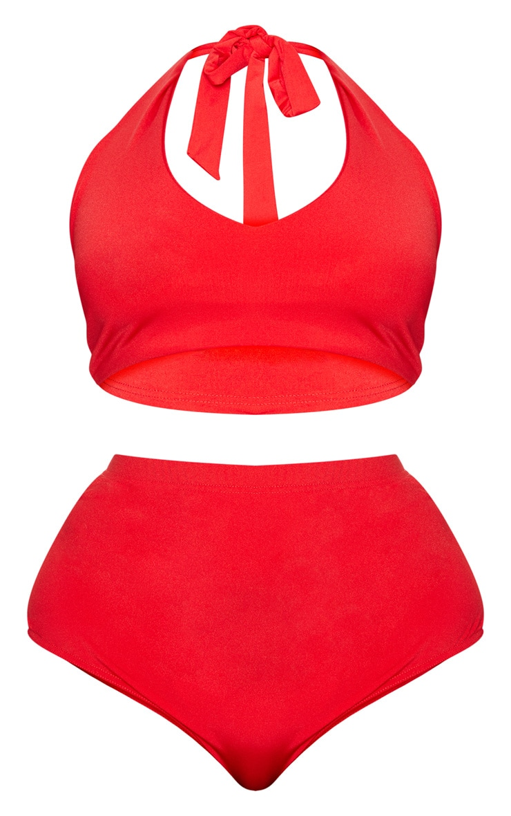 Plus Red Halterneck High Waist Bikini Set 3