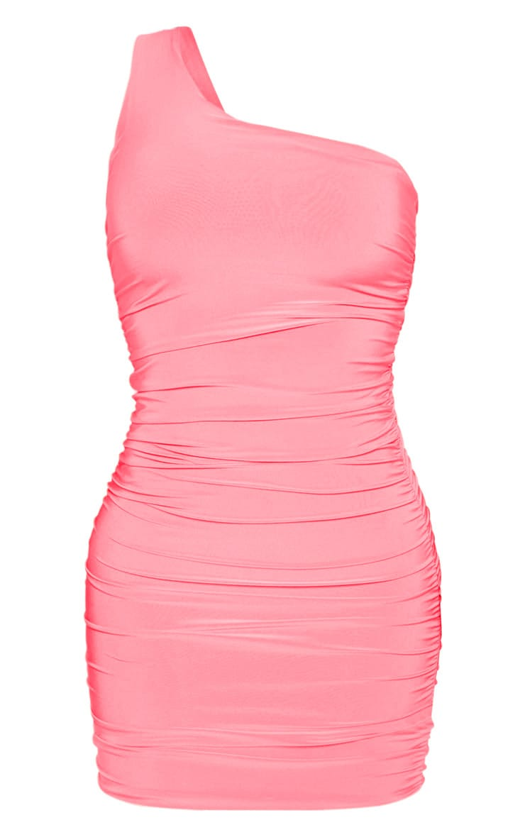 Neon Pink Slinky One Shoulder Ruched Bodycon Dress 4