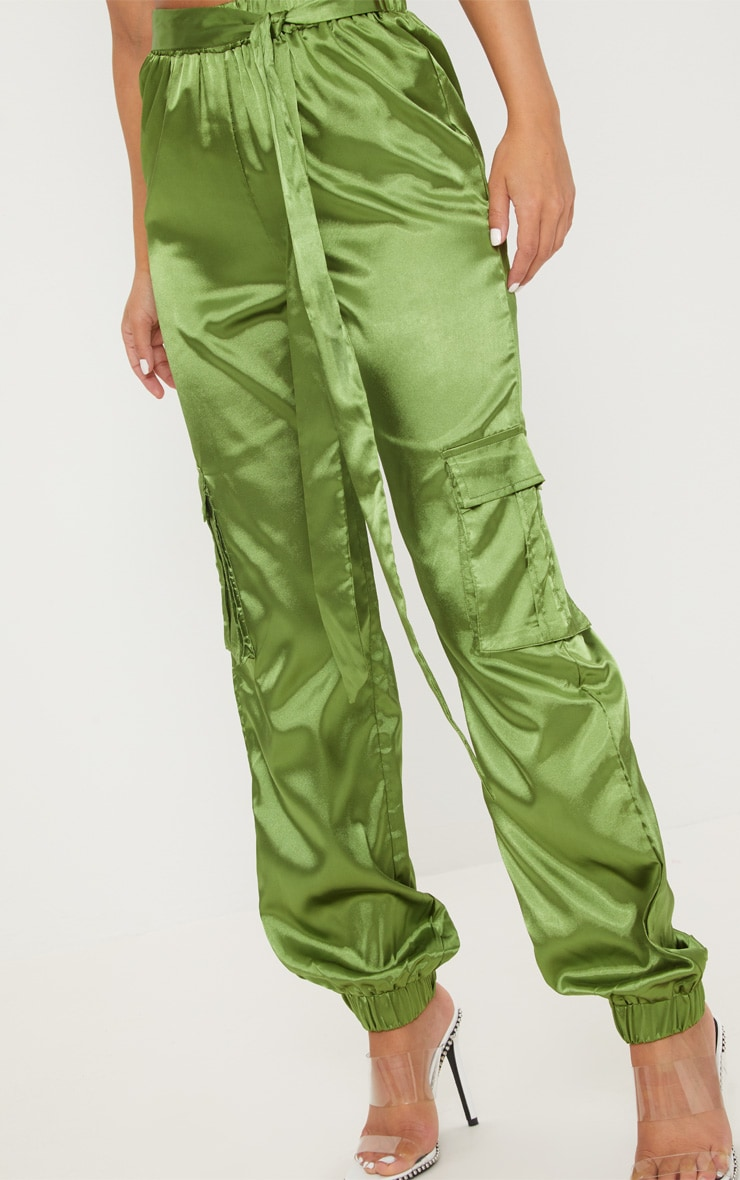 Petite Olive Satin Cargo Trousers 5
