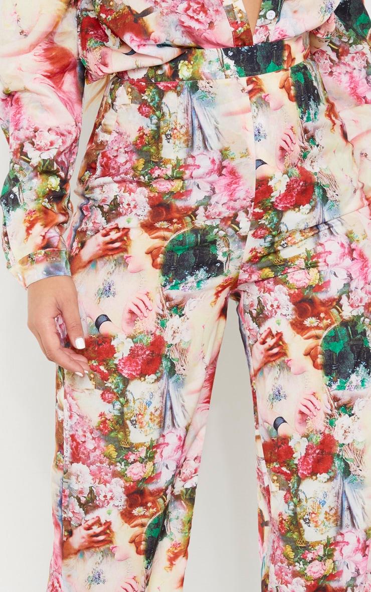 Rose Femme Renaissance Print Wide Leg Pants 5