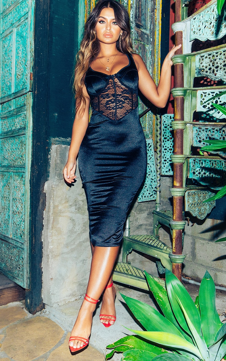 Black Satin Bustier Lace Insert Midi Dress 1