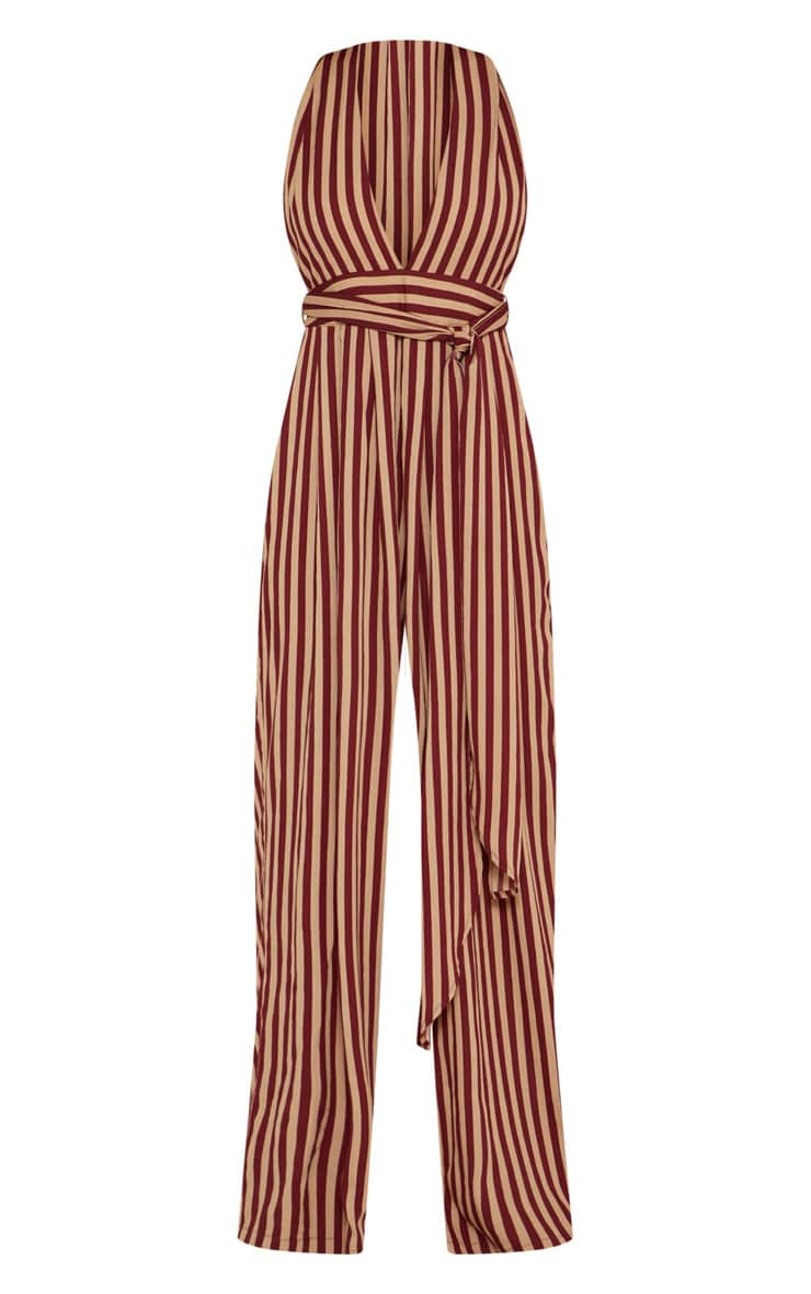 Camel Stripe Tie Waist Jumpsuit  4
