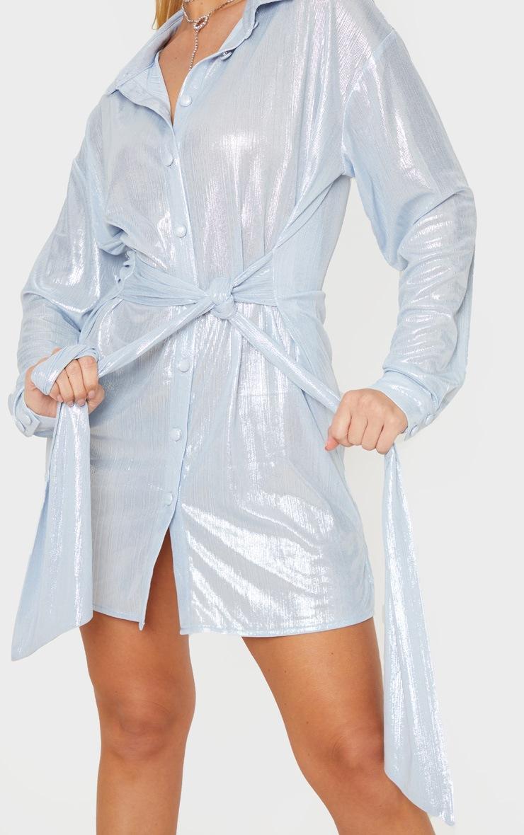 Silver Metallic Button Up Tie Waist Shirt Dress 5