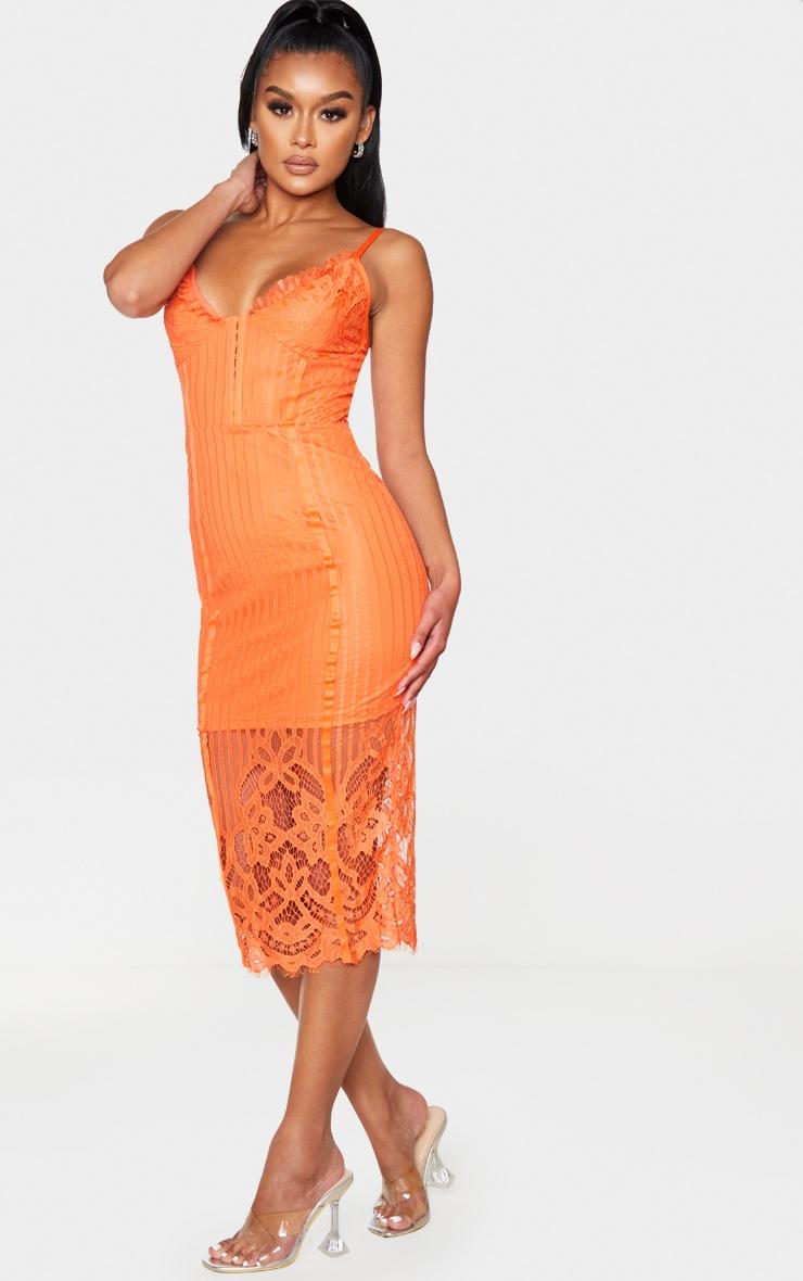Robe mi-longue à doublure en dentelle orange et agrafes 3