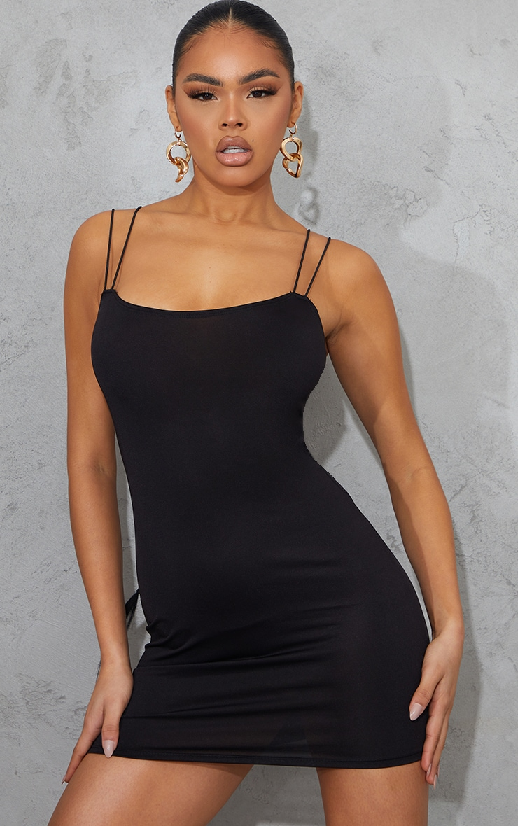 Black Slinky Double Spaghetti Strap Bodycon Dress 2