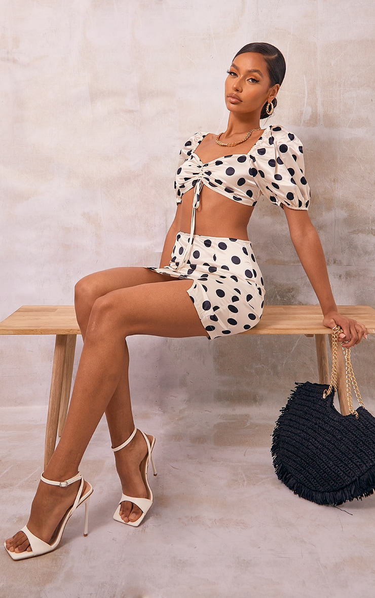 Stone Polka Dot Printed Satin Ruched Tie Front Puff Sleeve Crop Top 3