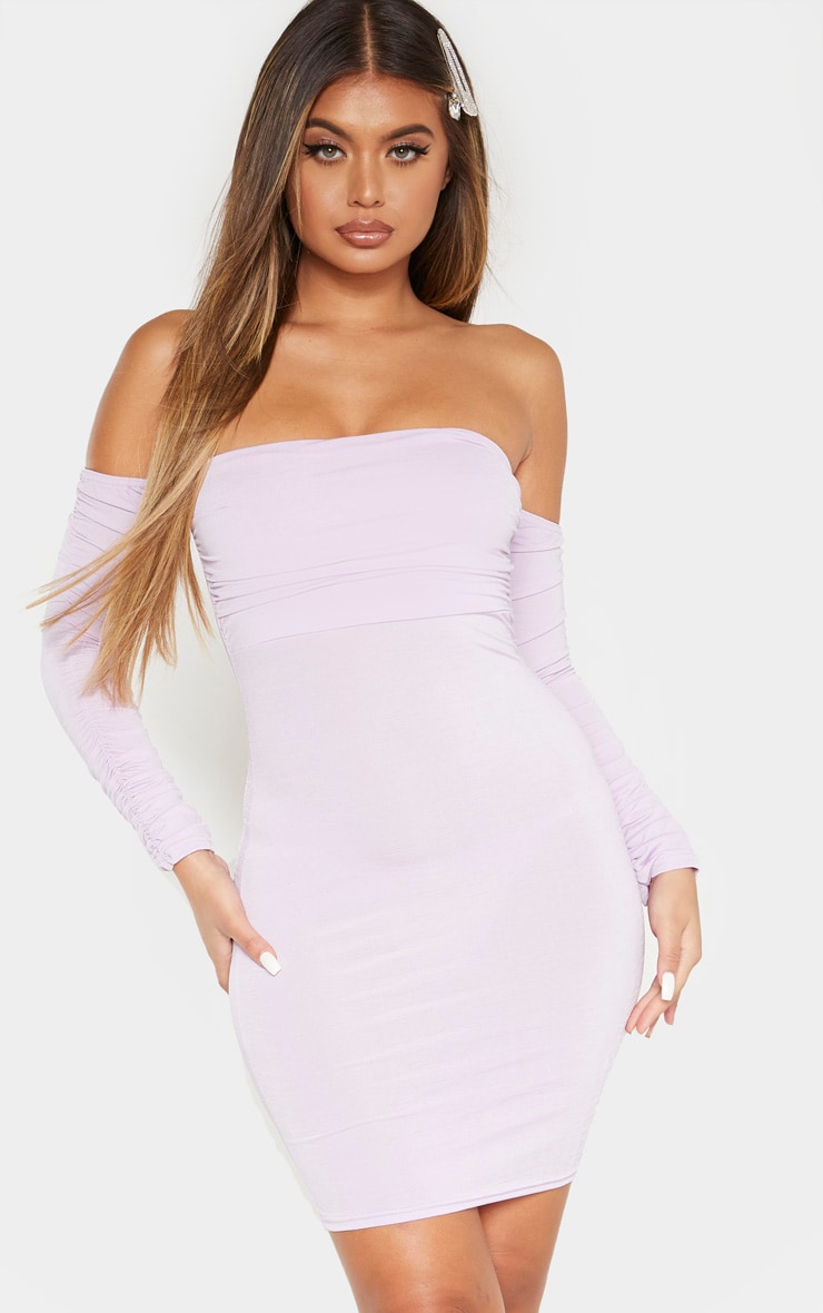 Lilac Ruched Front Arm Bardot Bodycon Dress 1