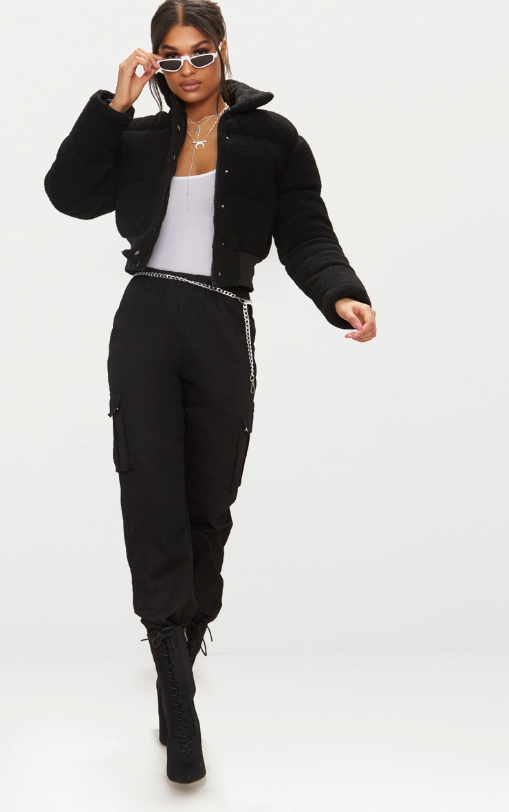 Black Borg Bubble Cropped Bomber Jacket 4