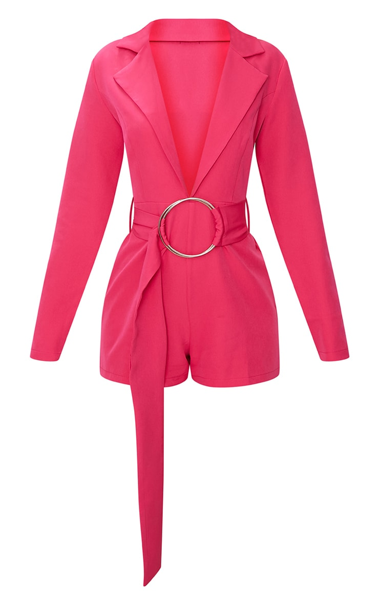 Fuchsia Tux Long Sleeve Playsuit 3