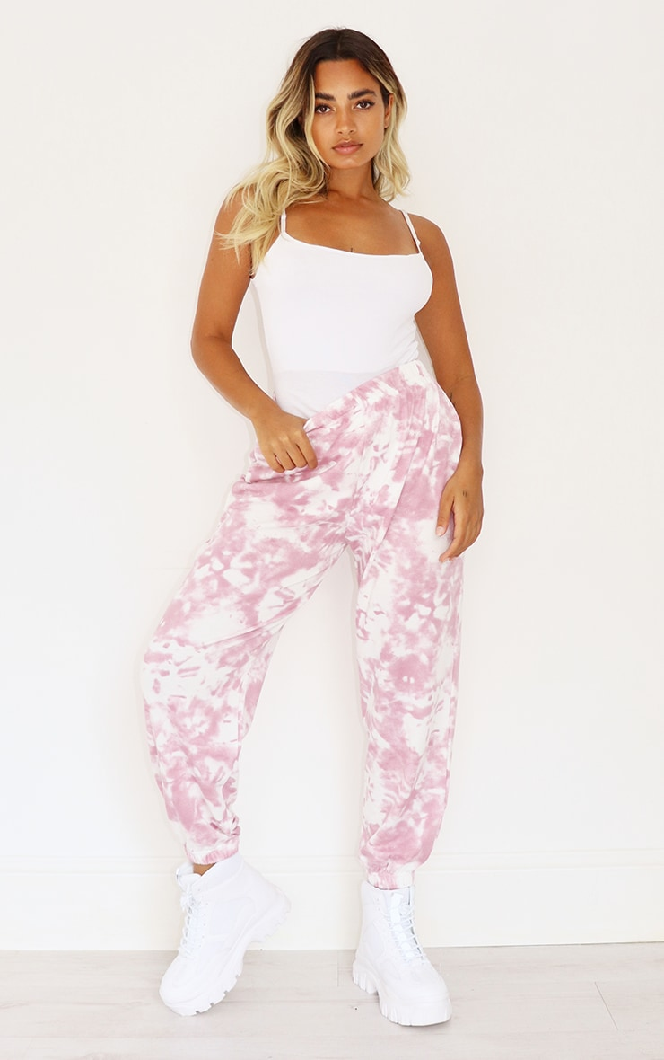 Petite Pink Tie Dye Cuffed Hem Sweatpants 1