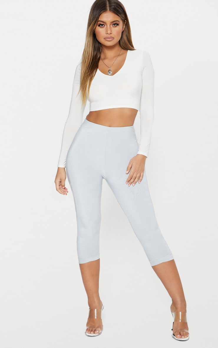 Light Grey Second Skin Slinky Cropped Legging