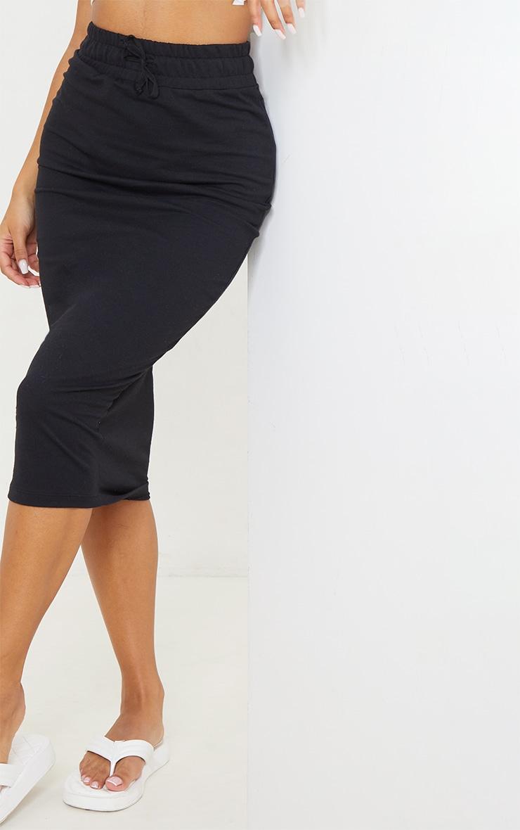 Black Ponte Deep Waistband Midi Skirt 4