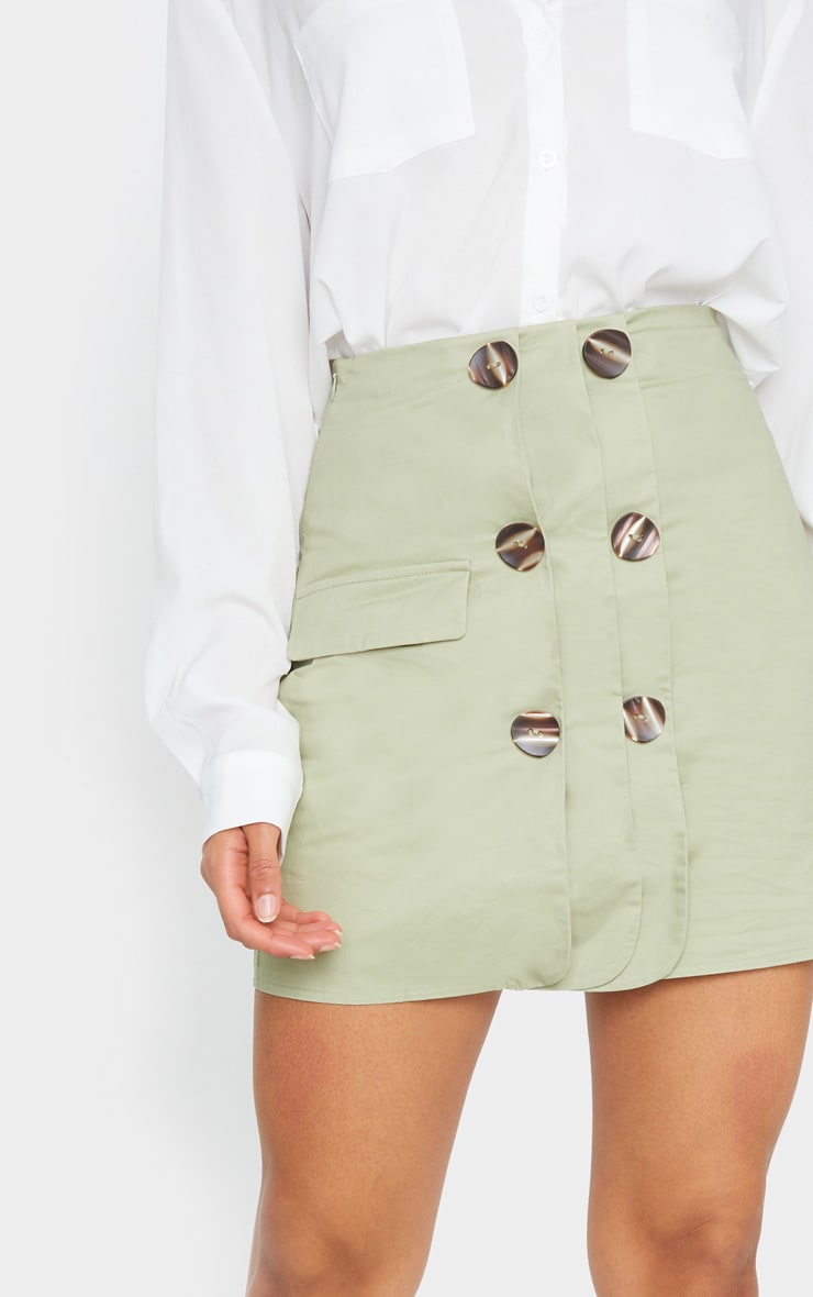 Sage Green Button Detail Cargo Mini Skirt 5