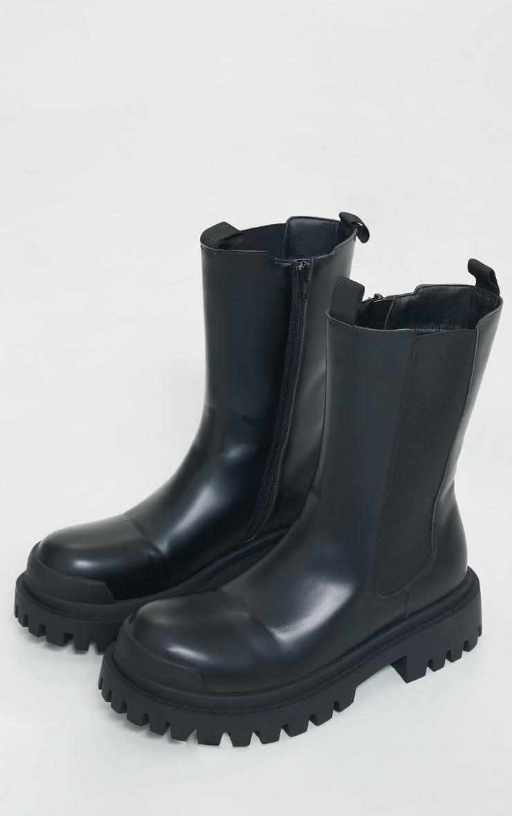 Black Rubber Toe Calf High Chelsea Boots 3