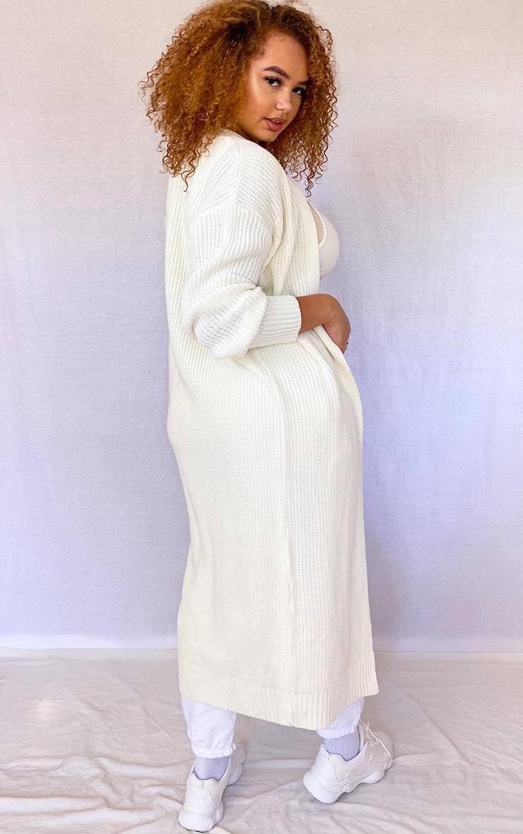 Plus Cream Maxi Knitted Cardigan 2
