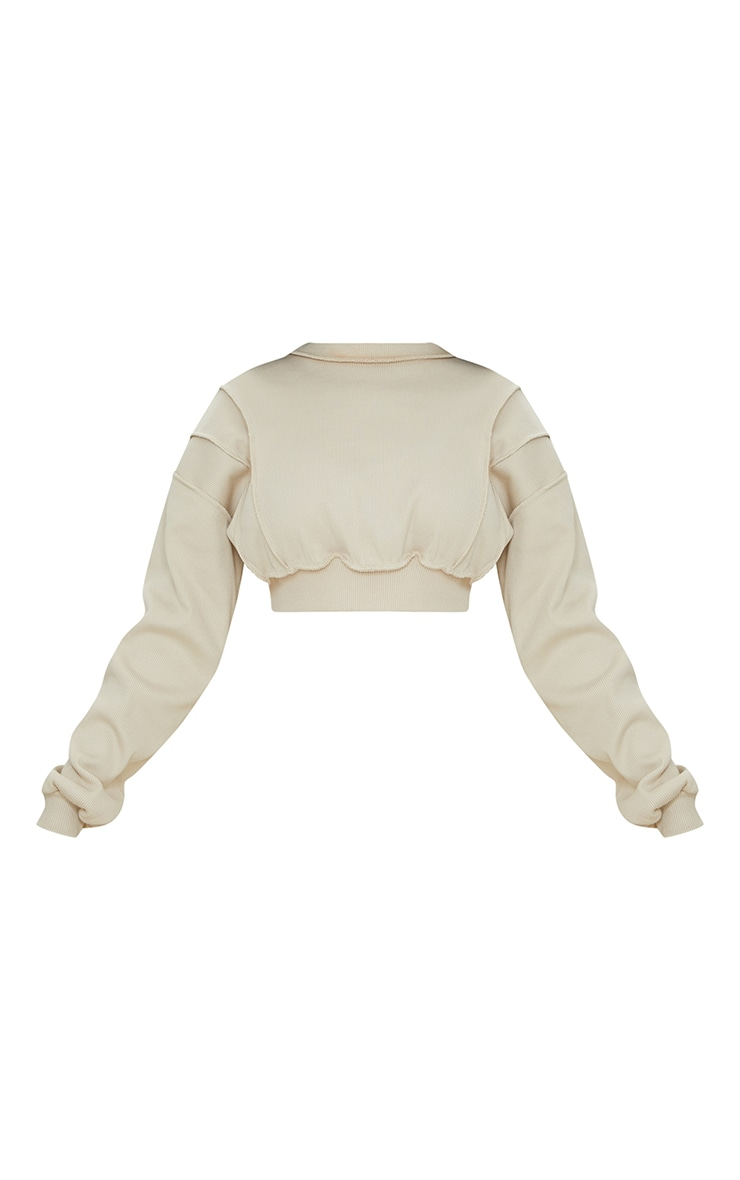 Sand Heavy Ribbed Overlock Detail Cropped Sweater 5