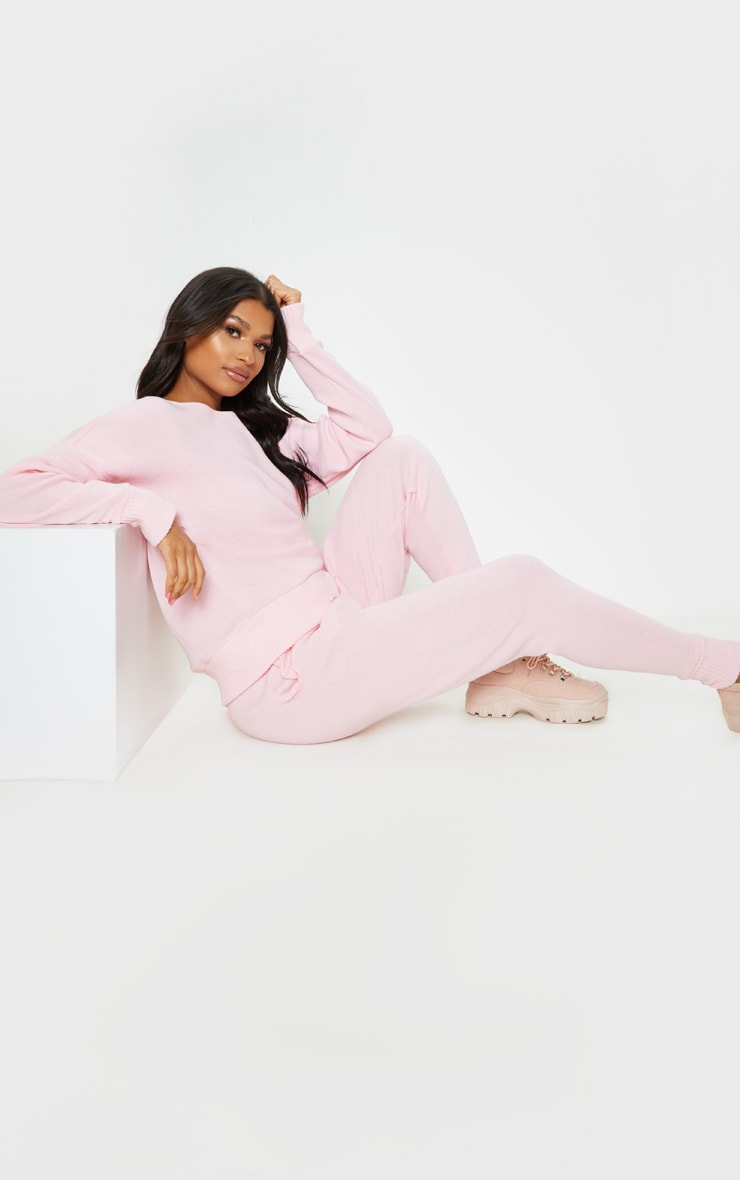 Pink Jogger Jumper Knitted Lounge Set 4
