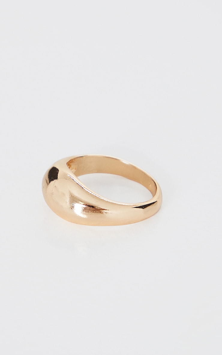 Gold Rounded Plain Ring 2