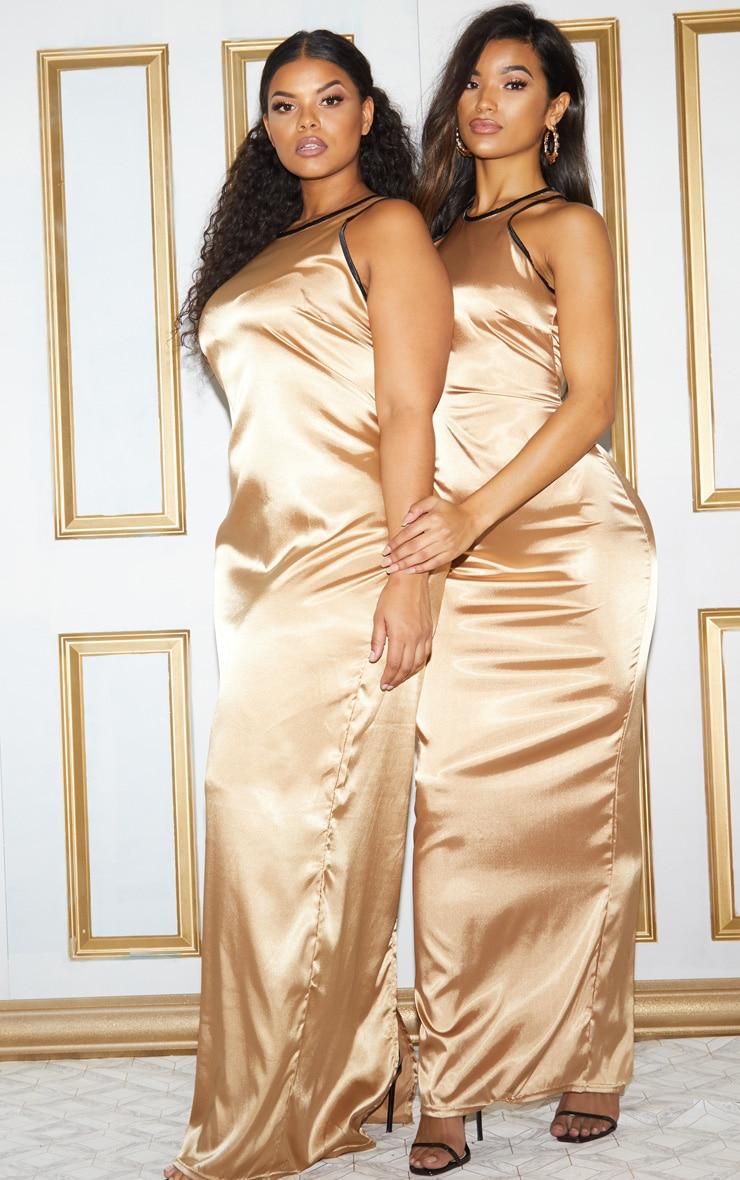 Gold Satin Contrast Piping Maxi Dress 2