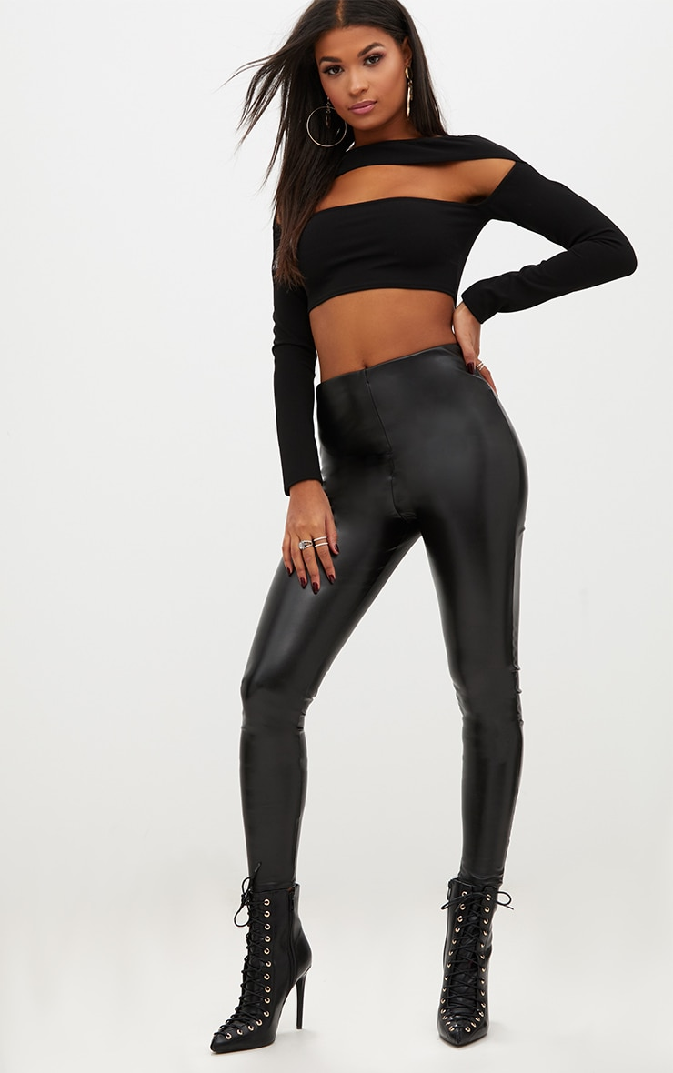 Black Faux Leather High Waisted Leggings