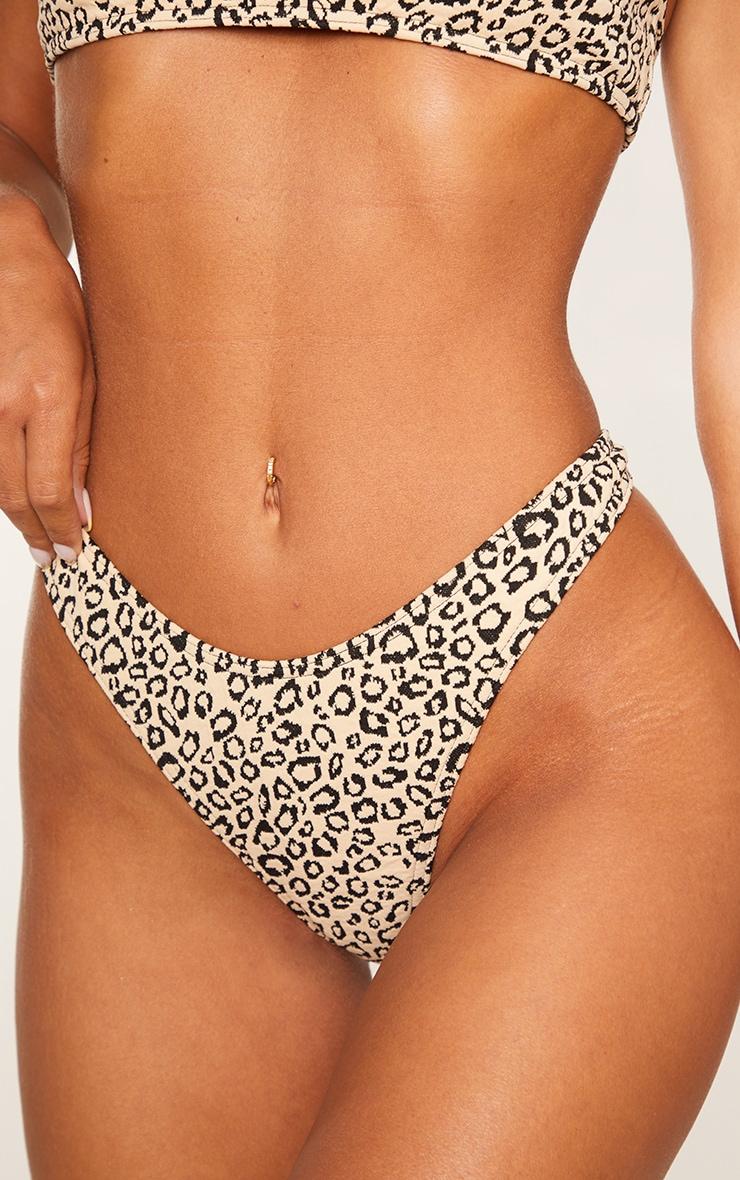 Stone Leopard Texture Thong Bikini Bottoms 4