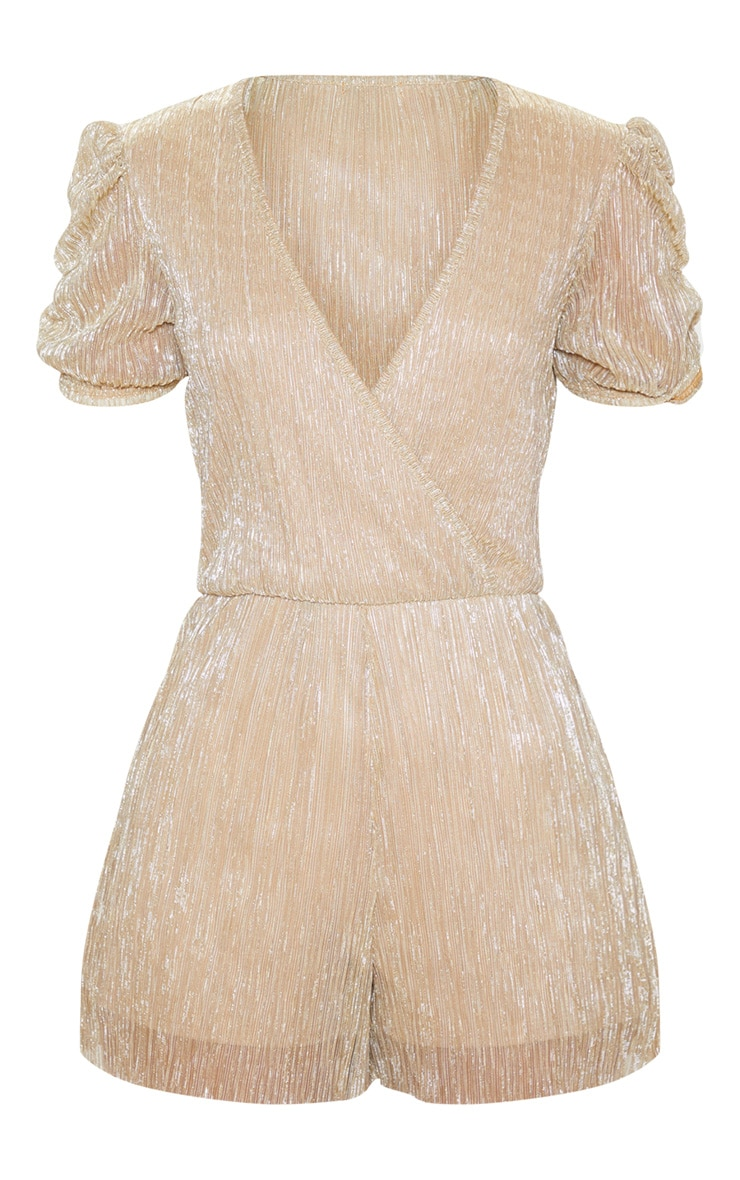 Gold Plisse Ruched Shoulder Romper 3