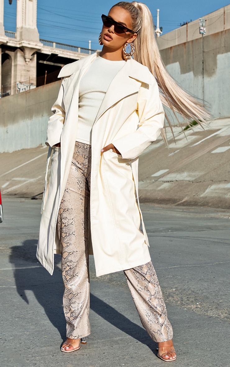 Cream Faux Leather Oversized Midi Coat