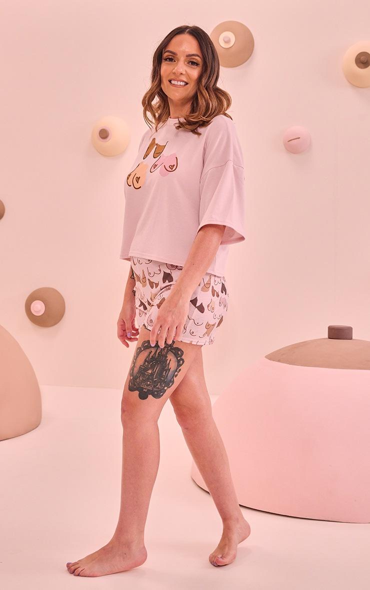 PRETTYLITTLETHING x CoppaFeel! Pink All Over Boob Print Short PJ Set
