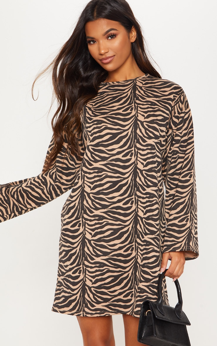 Beige Tiger Print Oversized Ponte Jumper Dress 1