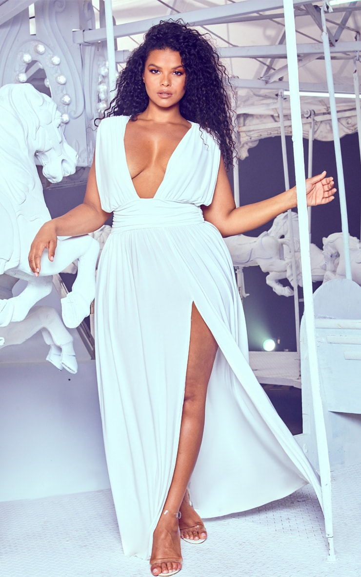 Plus White Ruched Plunge Maxi Dress