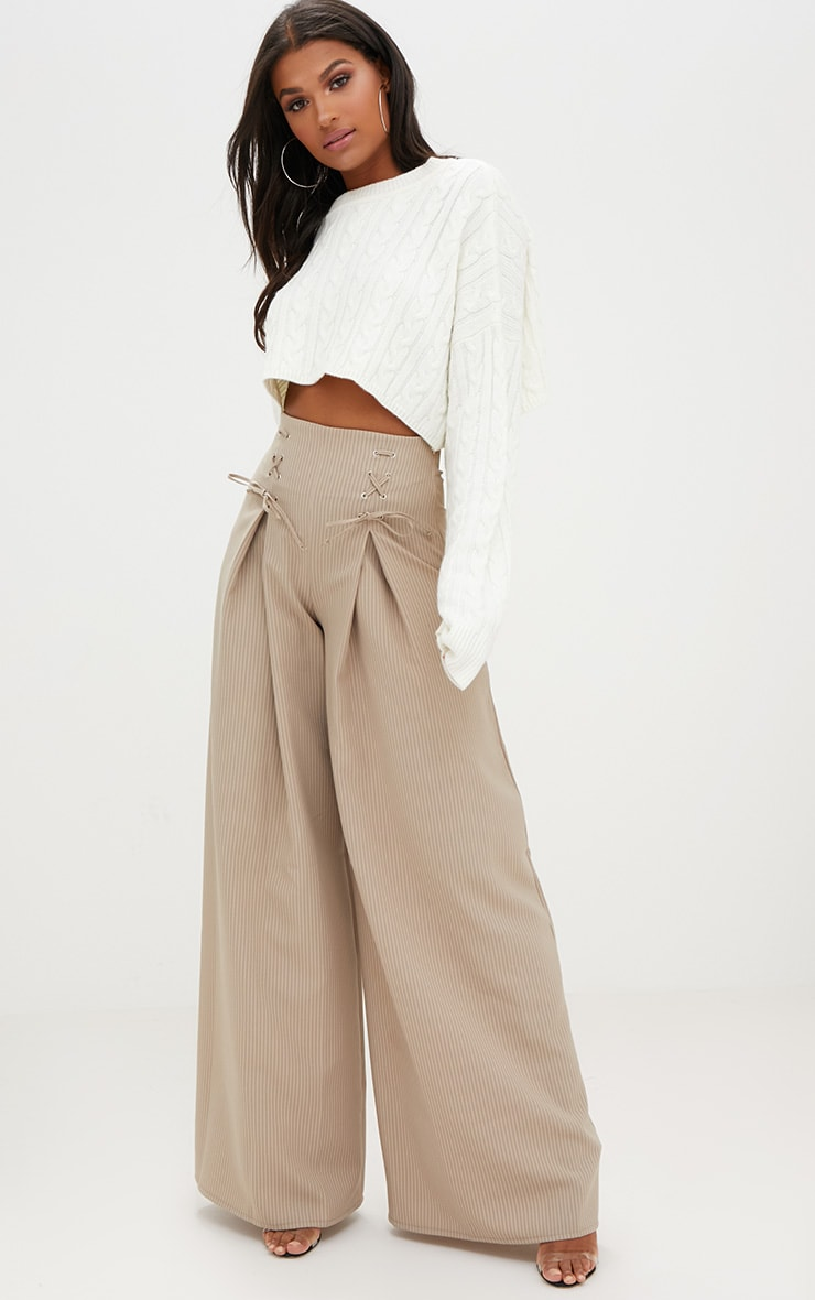 Stone Pinstripe Lace Up Wide Leg Trousers 1
