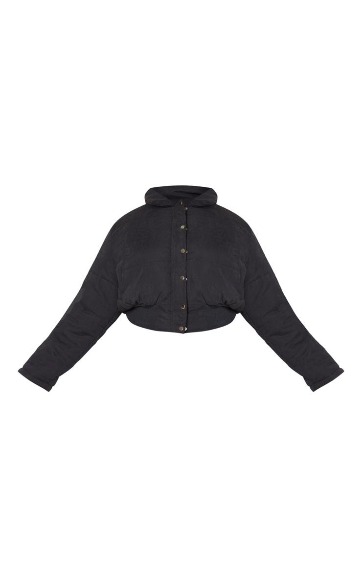 Plus Black Peach Skin Cropped Puffer Jacket 5