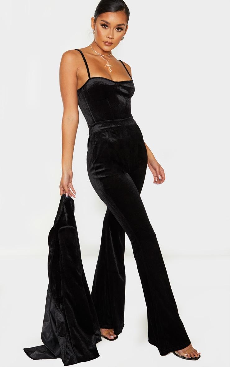 Black Velvet Tailored Extreme Flared Pants  1