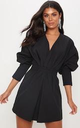 Black Plunge Ruched Shirt Dress 1
