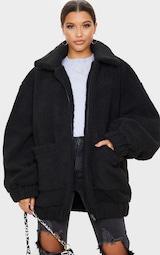 Black Oversized Borg Pocket Front Coat 1