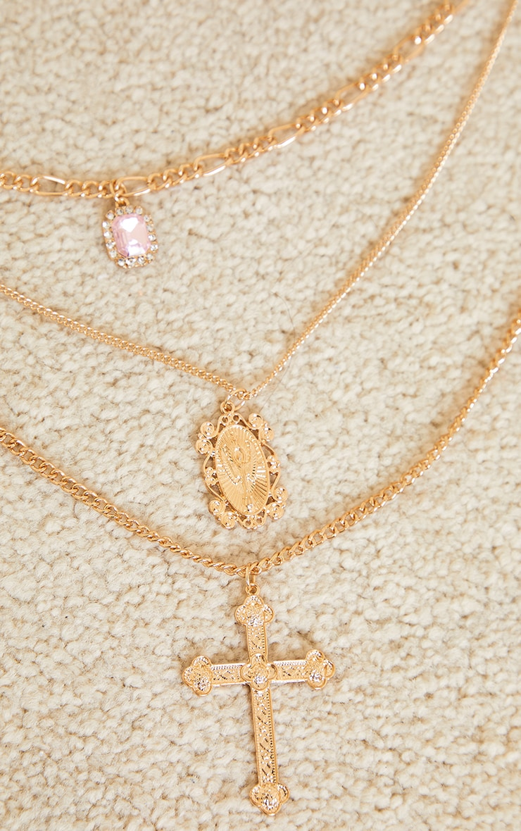 Gold Assorted Cross Pink Stone Layering Necklace 4