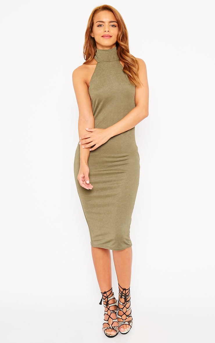Sara Khaki Polo Neck Midi Dress 3