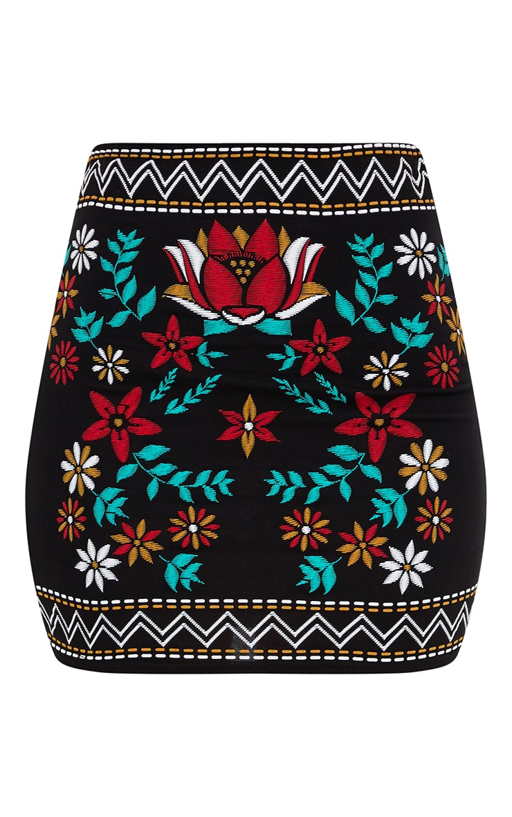 Black Border Embroidery Print Mini Skirt 3