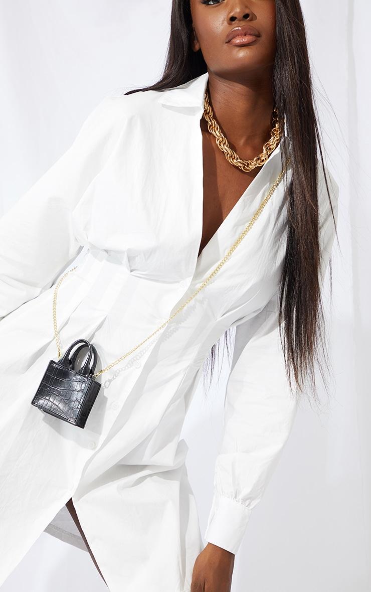 Tall White Corset Oversized Shirt Dress 4