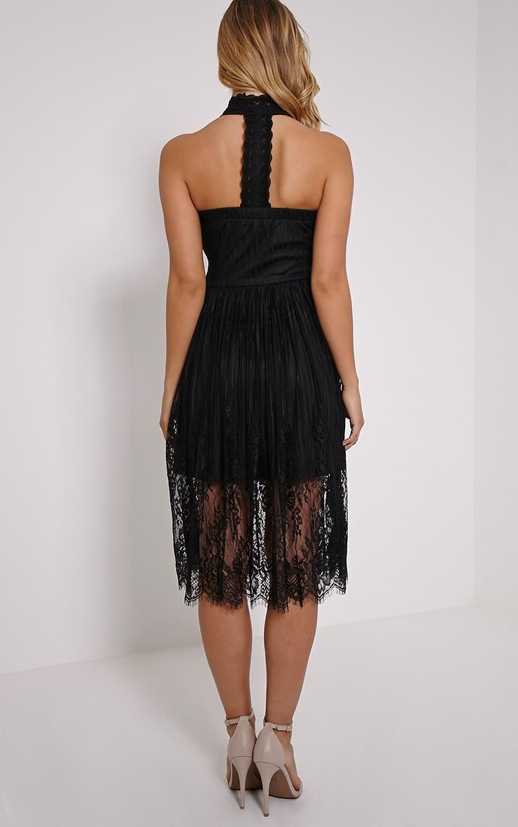 Shirl Black Racer Neck Lace Skater Dress 2