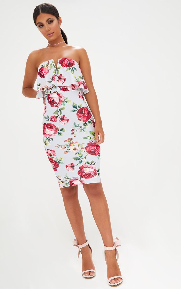 Grey Rose Floral Bandeau Midi Dress 4