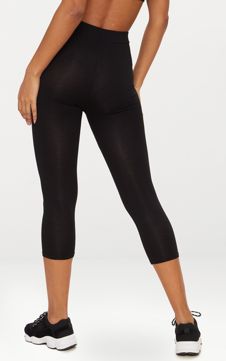 Basic Black Cropped Jersey Leggings 4