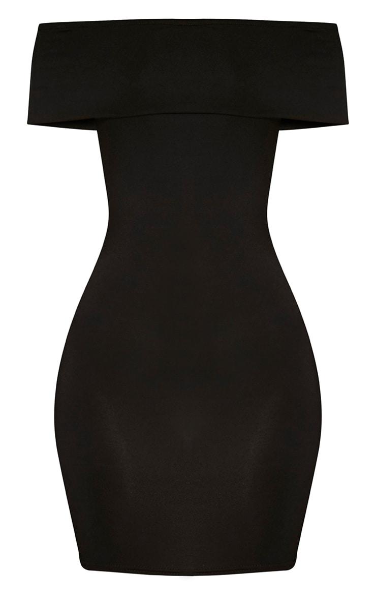 Bethany robe moulante à détail bardot noire 3